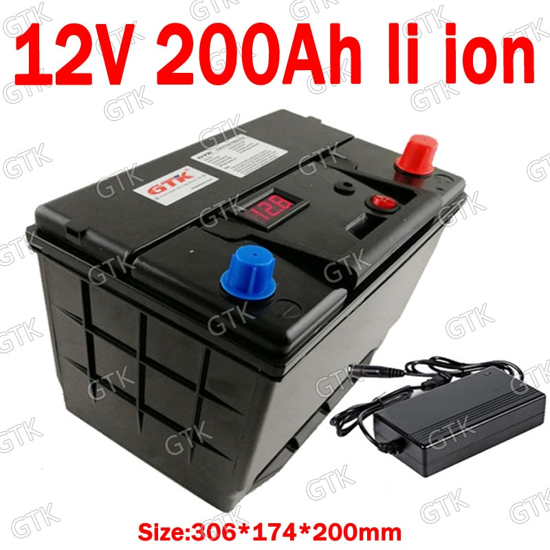 GTK 12V 200AH batería de iones de litio ABS caso con BMS para 1200W inversor montacargas AGV almacenamiento de energía Solar + 10A cargador