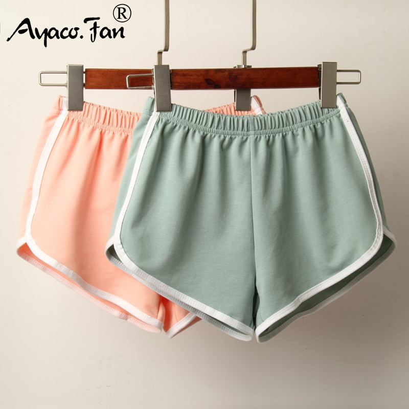 Sports Shorts Women Summer 2019 New Candy Color Anti Emptied Skinny Shorts Casual Lady Elastic Waist