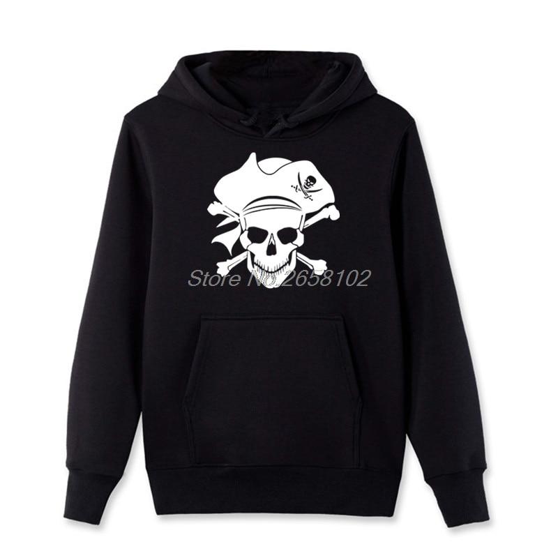 New Pirate Jolly Roger Piracy Crossbones Skull Print Hoodies Men Cotton Pullover Sweatshirt Fashion Casual Coats Fleece Hooded
