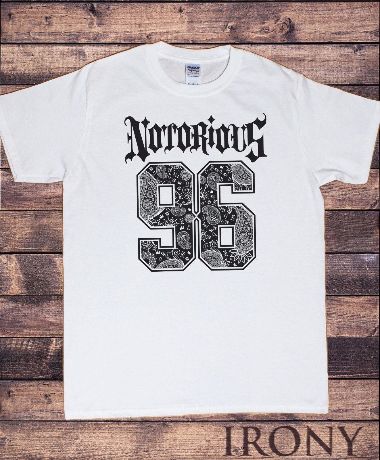 Camisetas estilo Hipster cuello redondo para hombre Camiseta NOTORIOUS 96 estilo urbano fresco Real impresión camiseta hombres