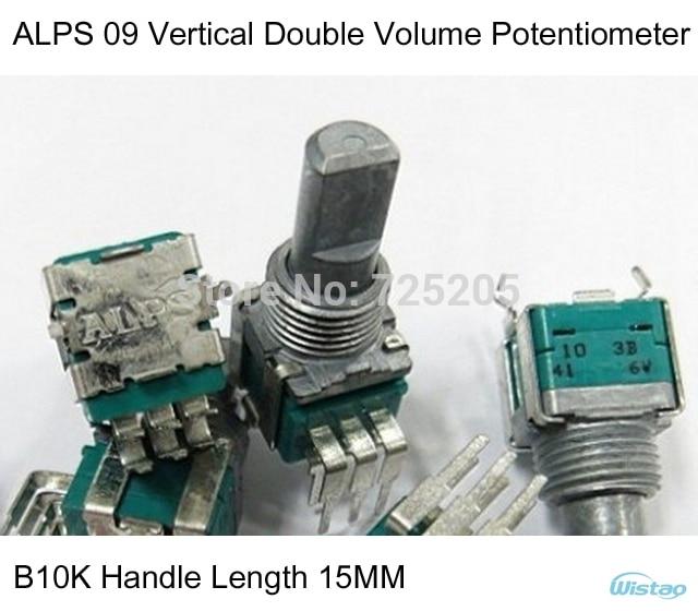 Japonais original alpes 09 Vertical Double avec point médian potentiomètre de Volume B10K longueur de poignée 15MM HIFI bricolage livraison gratuite