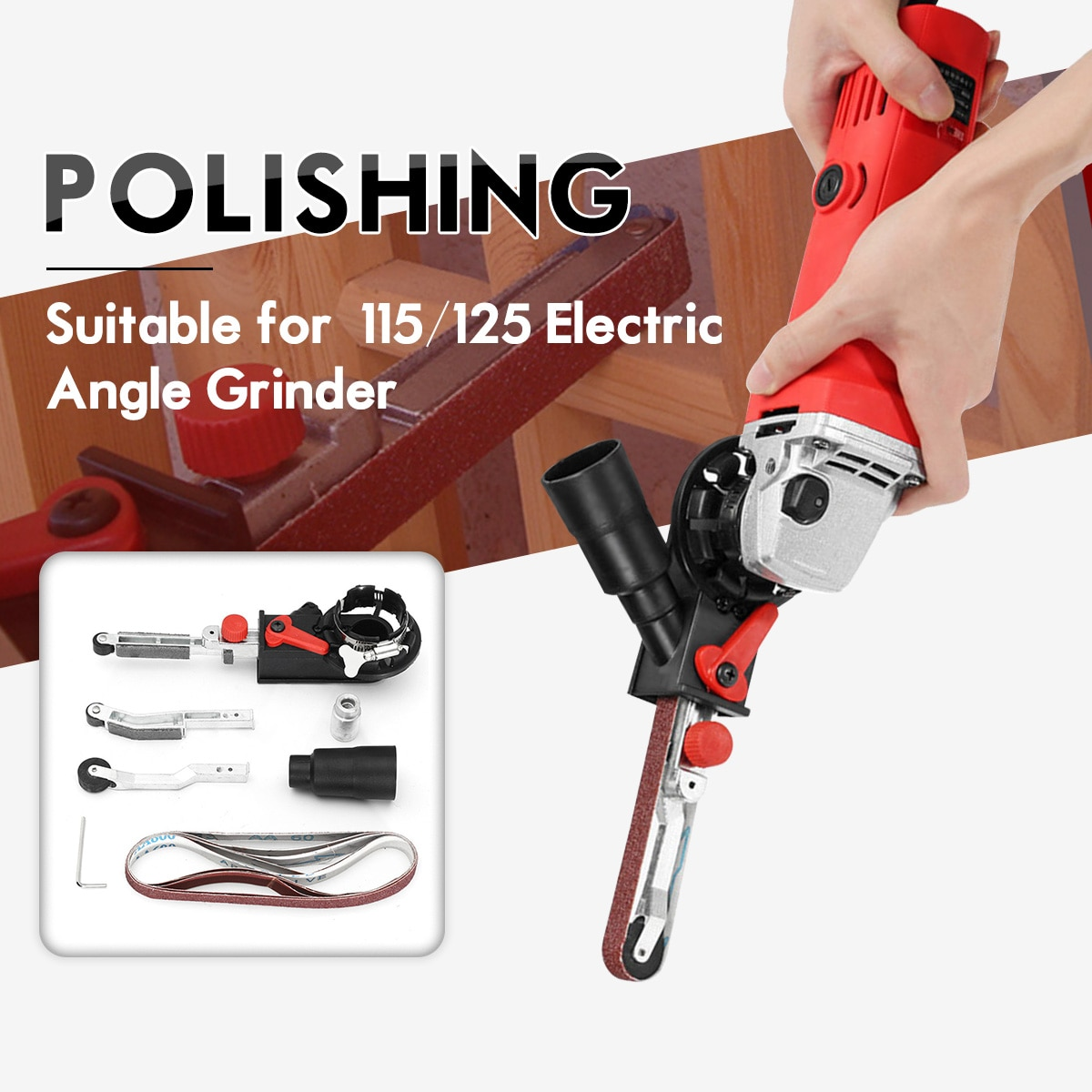 Gürtel Sander Gürtel Grinder Adapter Für 115/125 Elektrische Winkel Grinder mit M14 Gewinde Spindel Für holzbearbeitung Metallbearbeitung