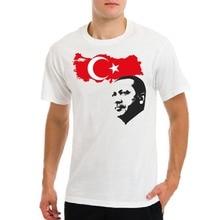 Recep Tayyip Erdogan cara Turquía Presidente con bandera del Condado hombres blanco T-Shirt2018 verano Camiseta cuello redondo moda Casual alto