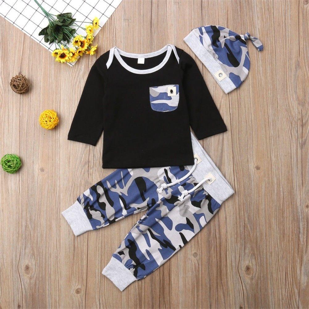 Nueva ropa Casual de moda para niño, ropa para recién nacido, niño pequeño, ropa de 3 uds, pantalones largos, conjunto de trajes de gorro