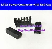 Livraison gratuite 10 pcs/lot connecteur dalimentation femelle noir SATA 15Pin avec 4 embouts + 10 en ligne