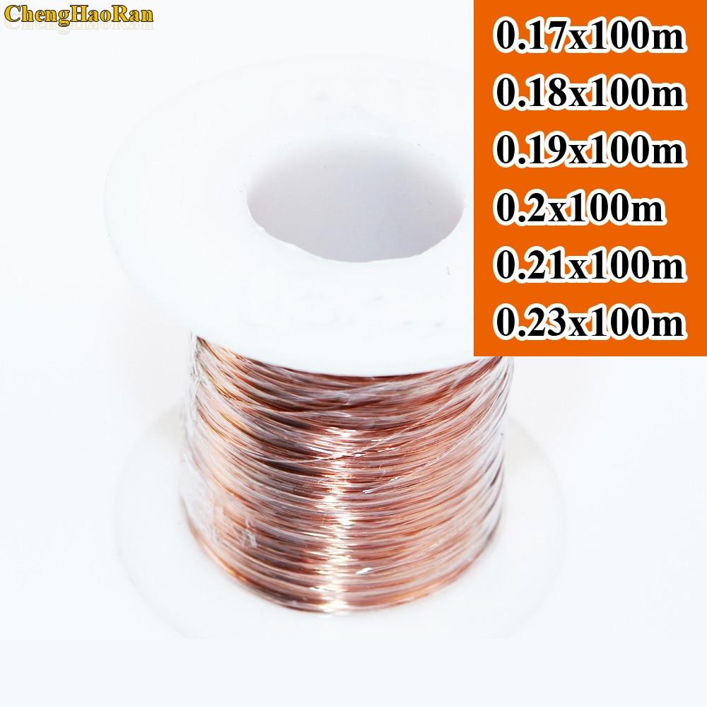 ChengHaoRan, 0,17, 0,18, 0,19, 0,2, 0,21, 0,23mm x 100 m, QA-1-155, nuevo alambre esmaltado de poliuretano, alambre de cobre de color primario, 100 metros