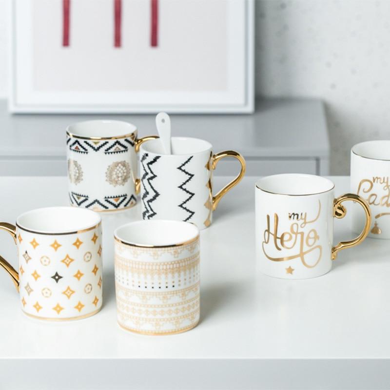 Luxus Gold Totems Mosaik Geometrische Flamingo Keramik Kaffee Becher Kaffee Tasse Gold Frühstück Milch Wasser Tasse Paar Kreative Geschenke