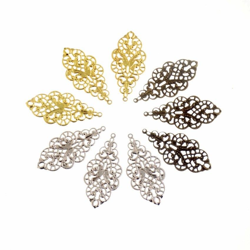 MIAOCHI DIY 40 Pcs Antique Bronze/Ouro/Branco K Folha Filigrana Wraps Conectores de Metal Artesanato Presente Decoração DIY 43*20mm