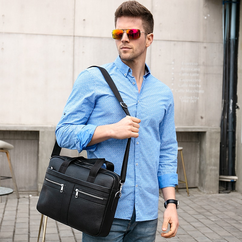 Чанта мъжко куфарче от естествена - Чанти за документи - Снимка 2