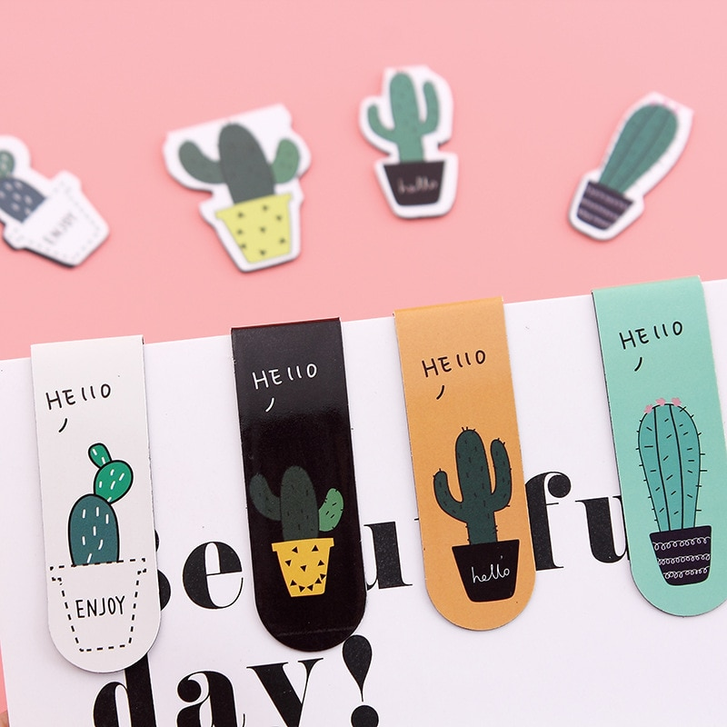 Bonitos marcapáginas magnéticos de Cactus, Clip de papel para nevera, pegatinas para escuela, oficina, suministros escolares, papelería de regalo