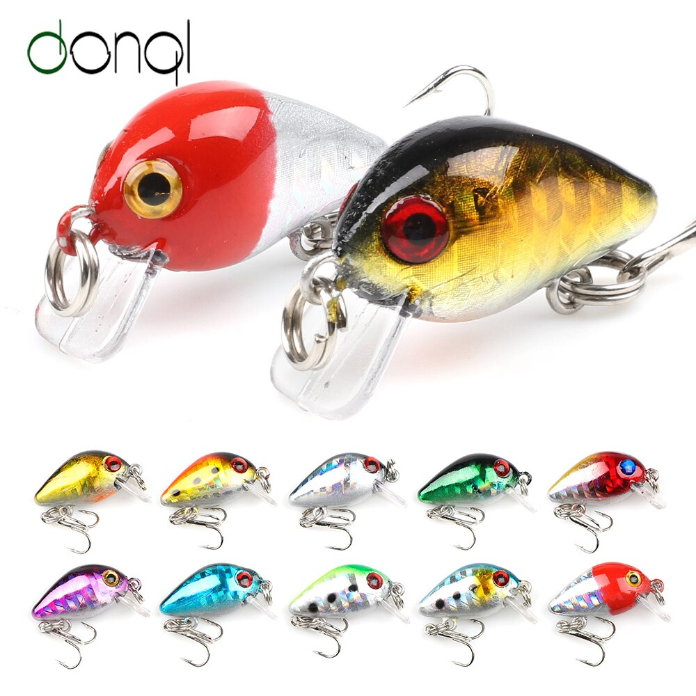 DONQL 2 unids/lote Mini Wobblers loco Crankbaits Señuelos de Pesca de 28mm y 1,7g Topwater flotante cebos duros artificiales de pesca