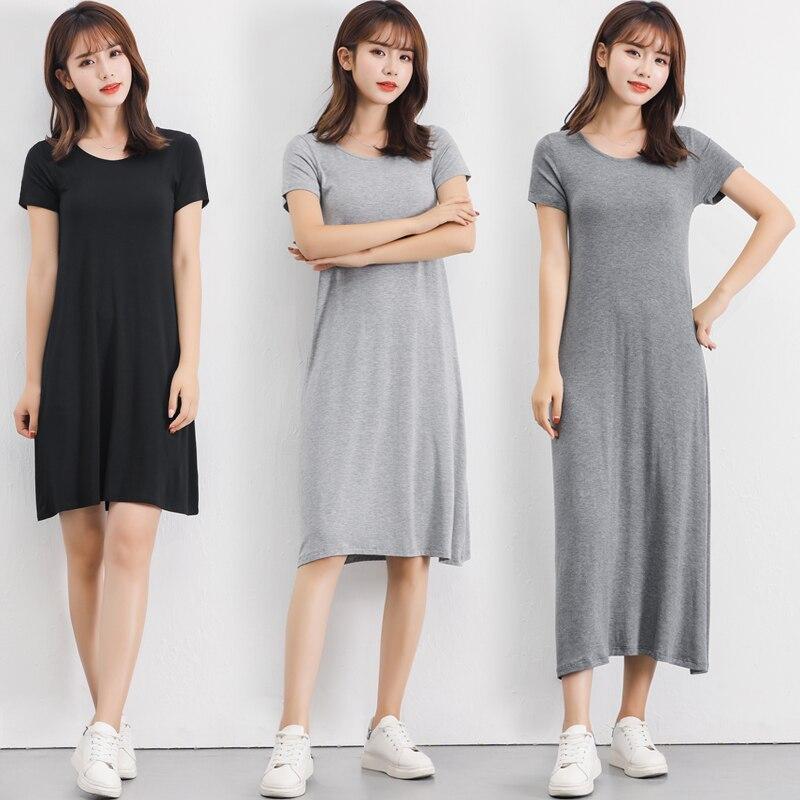2019 camisón de verano de talla grande para mujer, camisón de modal suave de algodón, camisón femenino de manga corta con cuello redondo, vestido para dormir en casa