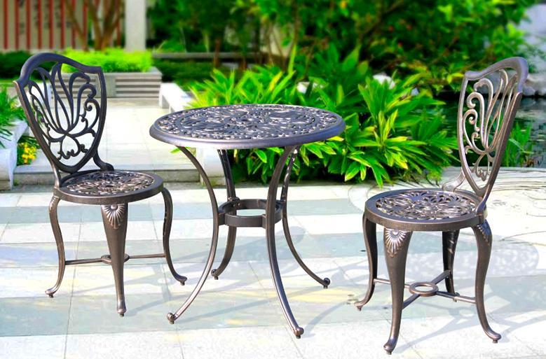 طاولة وكراسي استرخاء من الألومنيوم المصبوب ، فناء خارجي ، طاولة حديد أوروبية ريترو ، مزيج كرسي