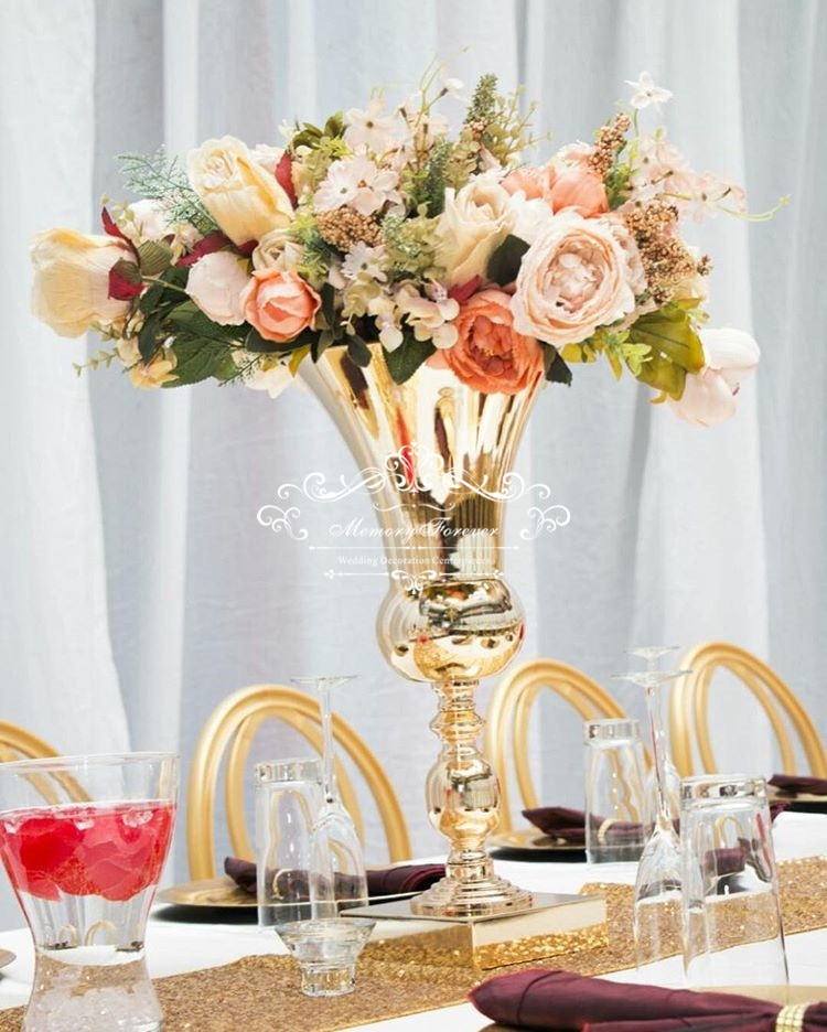 مزهريات زهور معدنية ذهبية ، وعاء بوق ، زينة الزفاف