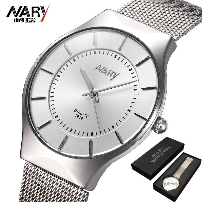 Relojes clásicos de moda de marca NARY para hombre, reloj deportivo de cuarzo, reloj ultrafino, correa de malla de acero inoxidable, reloj Masculino