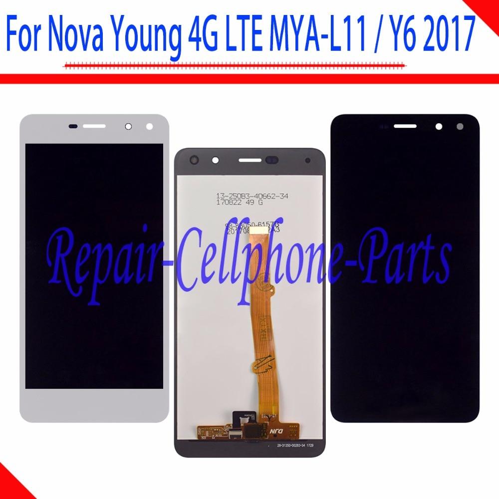 Pantalla LCD completa de 5,0 pulgadas + MONTAJE DE digitalizador con pantalla táctil para Huawei Nova Young 4G LTE MYA-L11 / Y6 2017 MYA-L41 MYA-L01