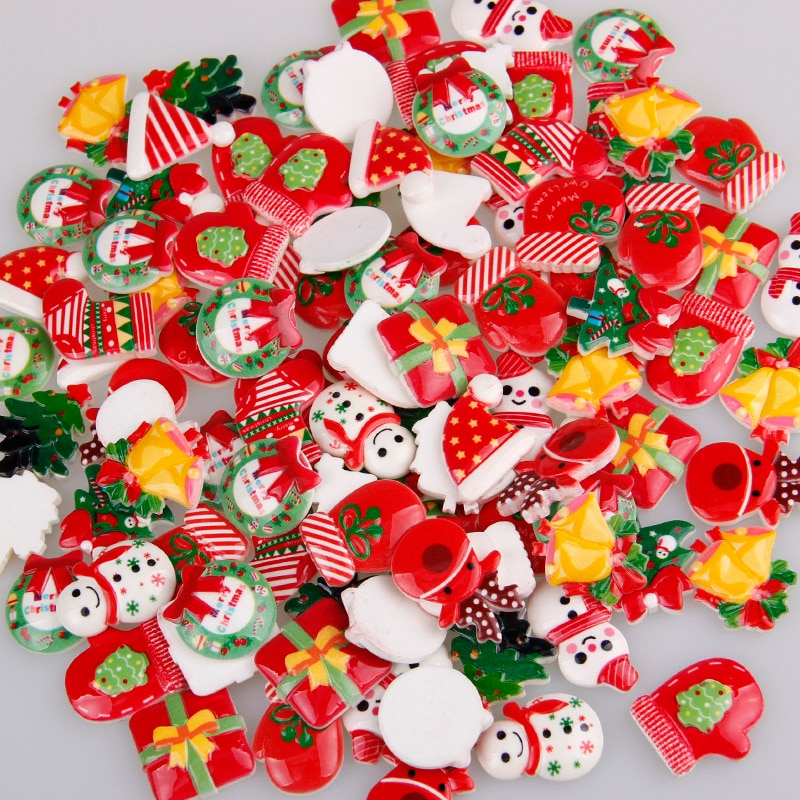 Mix Designs 30pcs Christmas Tree Shoes Snowman Gift Dessert Cartoon DIY Resin Flatback Cabochon Lucky Bag DIY Phone Case Beauty