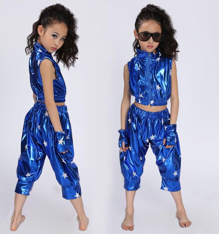 New Sequins Hip Hop Jazz Dance Suit for Children Performance Dance wear Girl Modern Jazz Dance Costume Suits