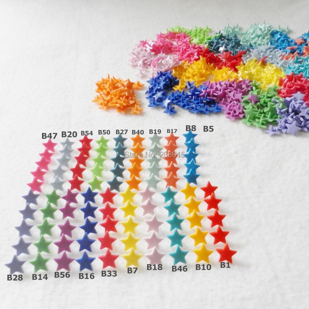 ¡Sorpresa! (20 colores mezclados) 200sets tamaño 20 T5 KAM estrella forma de corazón sujetadores de botones de plástico brillante para pañales