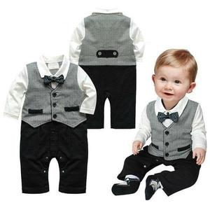 1pc Spring Autumn Infant Baby Boys Cotton Long Sleeve Romper Gentleman Bowknot Solid Color Comfortable High Quality Romper 1-3Y