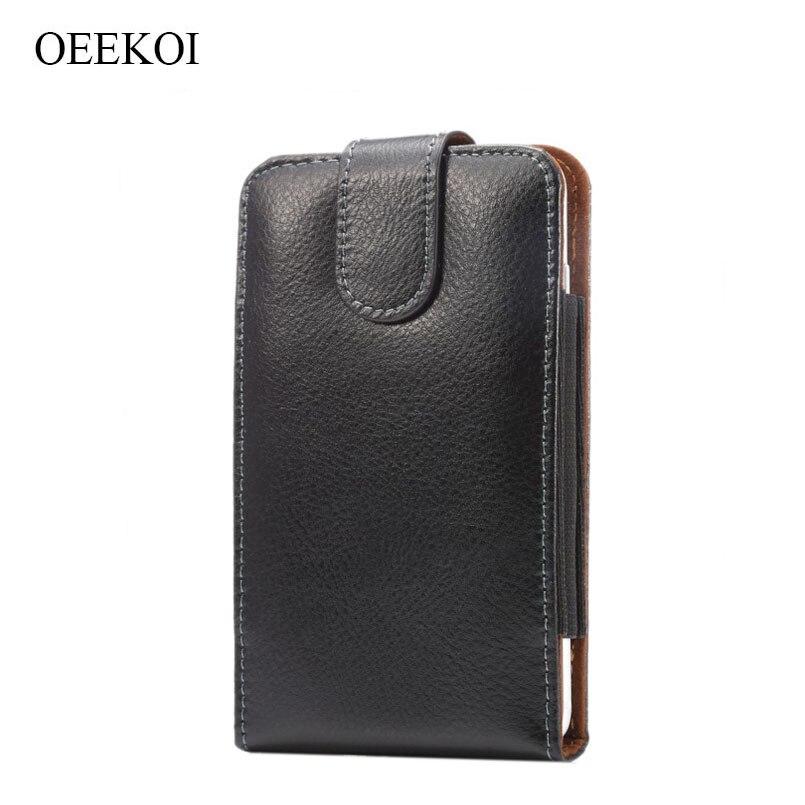OEEKOI Genuine Leather Belt Clip Lichee Pattern Vertical Pouch Case for Kyocera Urbano V02/Basio KYV32/Urbano V01/Qua