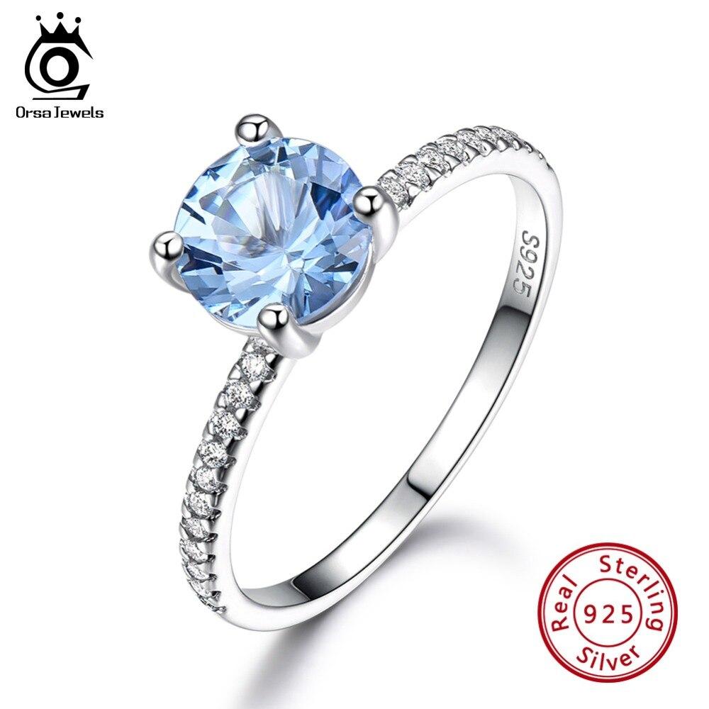 ORSA JEWELS, 100% Настоящее 925 пробы, серебряные Свадебные кольца для женщин, обручение, натуральный голубой топаз, Женские Ювелирные украшения, подарок VSR10