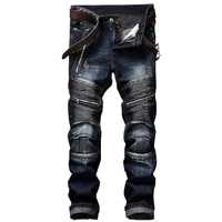 2021 new mens jeans european american slim zipper leisure cotton straight tube mens washed trousers hot sale