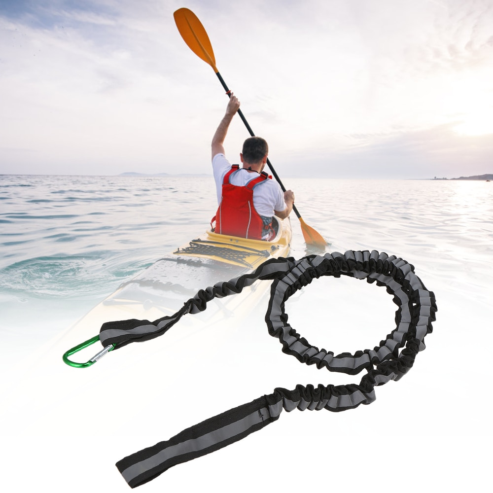 Kayak Paddle elástico correa de pesca al aire libre cable reflexivo cuerda con mosquetón barco Accesorios
