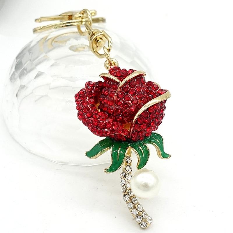 Flower Keychain Keyring Purse Bag Rhinestone Crystal CZ Key Chains Charm Pendant Necklace Gift