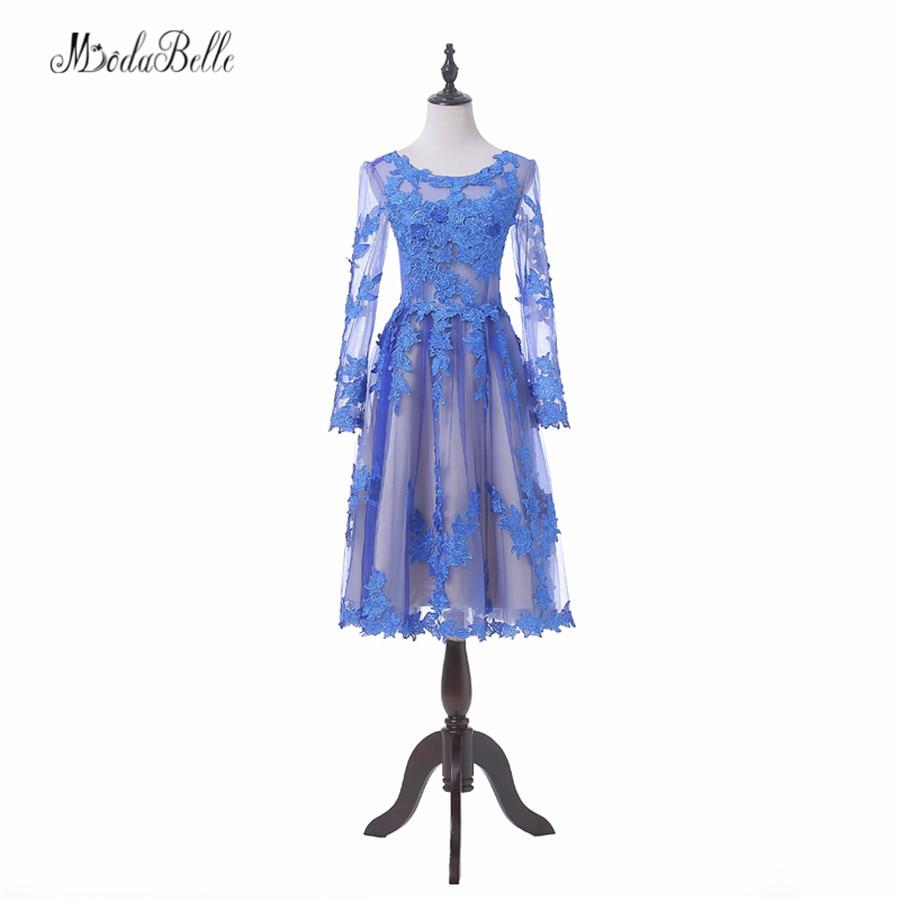 Modabelle Sexy transparente manga larga vestidos de encaje para baile de graduación azul barato 8th grado Prom Dress para la ocasión de graduación 2017