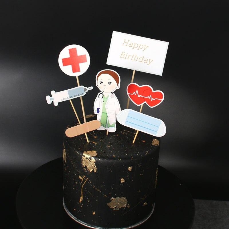 7 pçs bolo de aniversário feliz topper enfermeira doutor design cupcake topper para pessoal médico festa de aniversário decorações do bolo do chá de fraldas