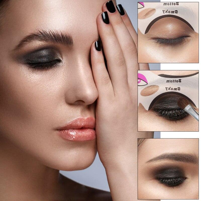 Delineador de ojos sombra de ojos ahumado plantillas para tarjetas, modelos de plantillas, aspecto de ojos de gato, reutilizables, utensilios cosméticos de maquillaje