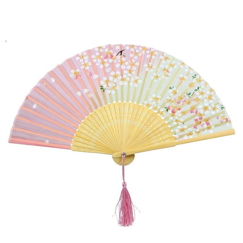 Nuevo abanico de baile japonés de encaje, diseño de flores de cerezo rosa y verde, abanicos plegables de mano de bambú, suministros para eventos y fiestas de 21cm