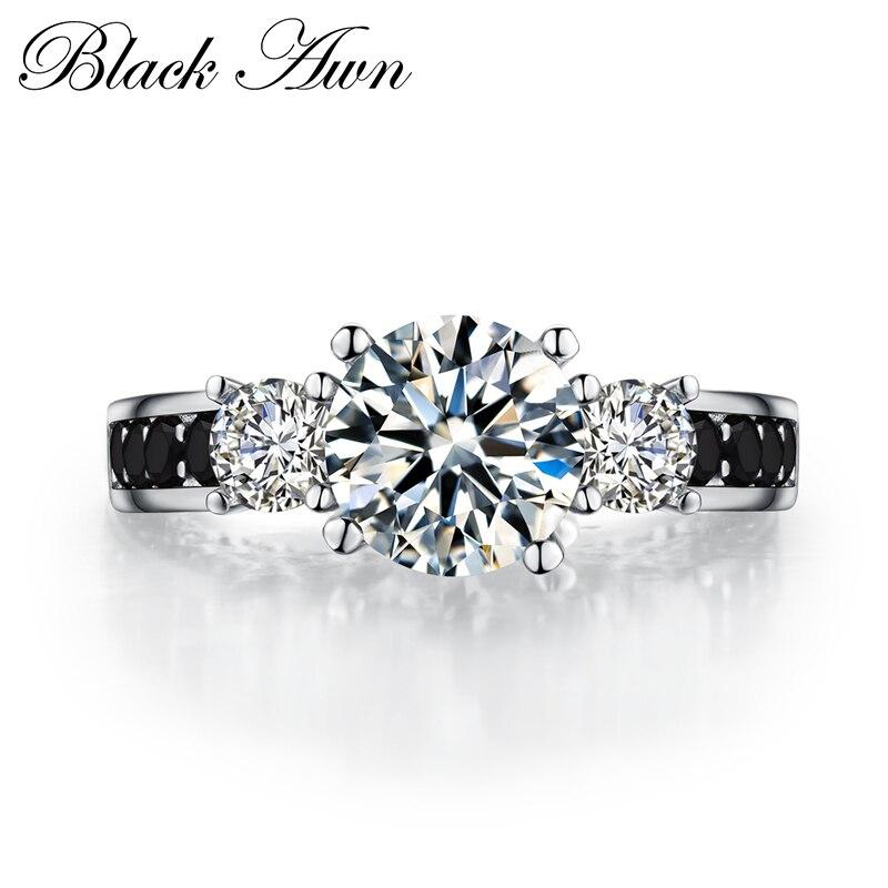 2020 anillos de boda lujosos de Plata de Ley 925 Eternity en blanco y negro, anillo de compromiso bisutería para mujer C098
