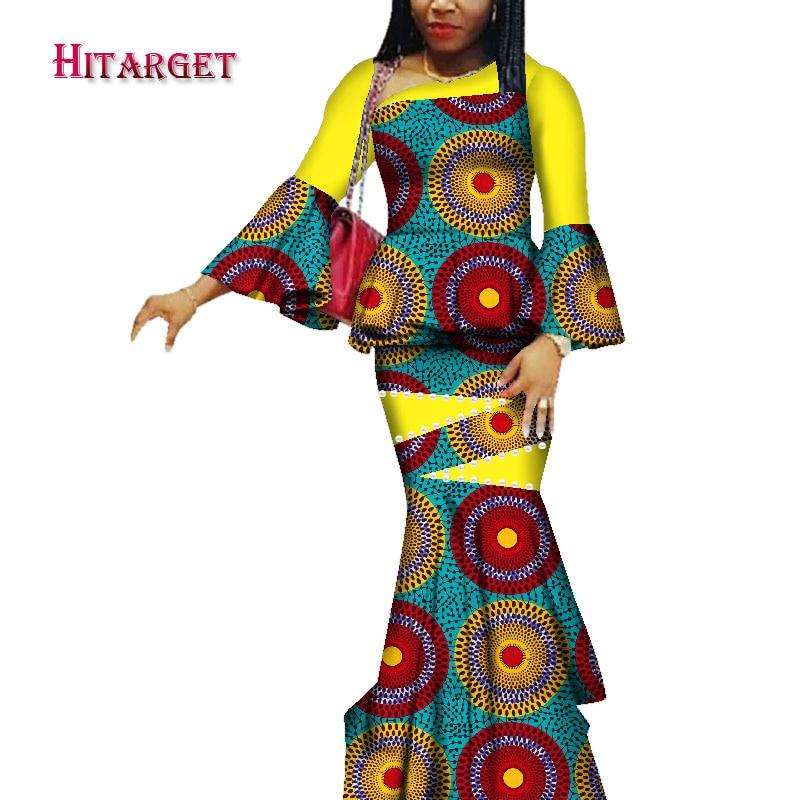 Hitarget vestidos africanos para mujeres dashiki ropa Africana tops africanos + falda 2 piezas traje vestidos de África para mujeres WY3731
