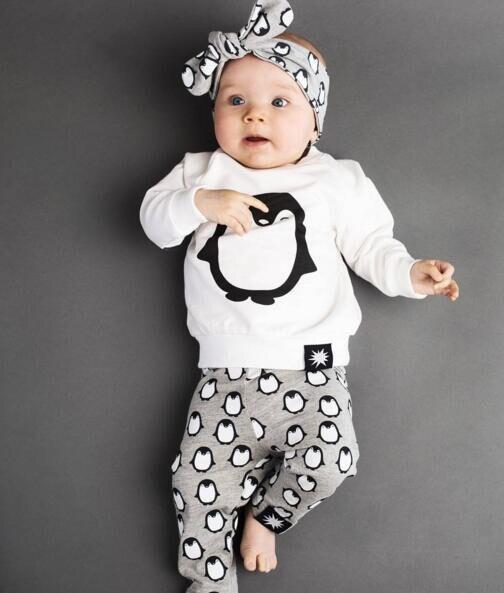 Комплекты одежды для новорожденных, модная футболка с длинными рукавами с пингвином + штаны + повязка на голову, комплекты одежды из 3 предметов для маленьких мальчиков и девочек, 2019