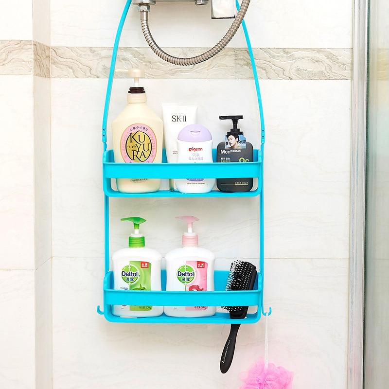 Bathroom Double Layers Hanging Shelf Bath Supplies Storage Rack Plastic DIY Shower Organiser Holder