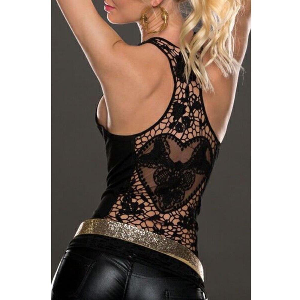 Camiseta sin mangas de verano para mujer, camiseta sin mangas Sexy con encaje, camiseta sin mangas negra y blanca con espalda al croché