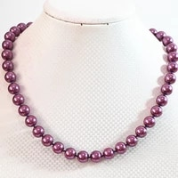 fashion purple shell simulated pearl round beads 8mm 10mm 12mm 14mm necklace for women high grade romantic jewelry 18inch b637