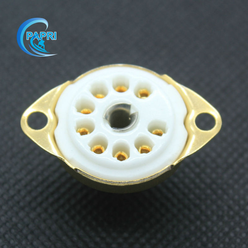 10 piezas de cerámica dorada B9A nuevo amplificador de 9 pines Base de tubos de vacío para 12AX7 12AT7 6DJ8 12BH7 12BY7 5751 de 6189 EF86 Etc.