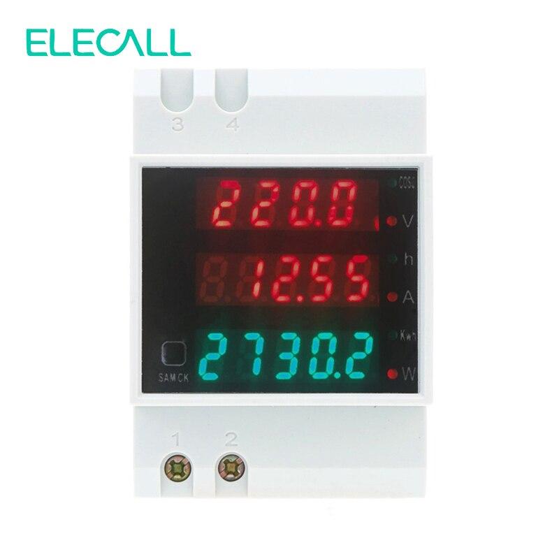 Medidor de potencia multifunción Digital ELECALL D52-2047 carril DIN AC80-300V voltímetro AC 0-100A amperímetro medidor de energía