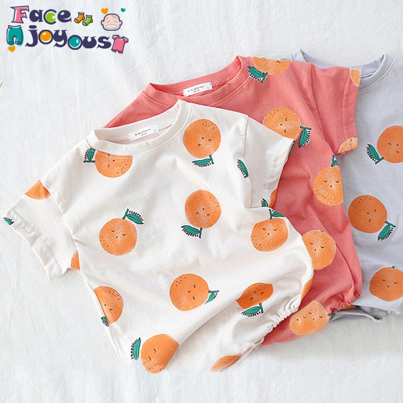 Monos recién nacidos gemelos niña niño Onesies niños pequeños impresión naranja de dibujos animados Bodysuit niñas pequeñas ropa niños monos 0-3T