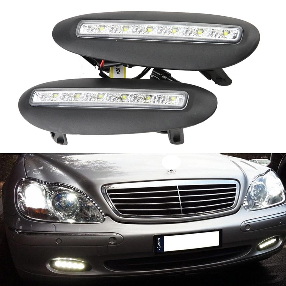 2x LED blanco día luz antiniebla cubierta DRL para BENZ W220 s-clase 1998-2001 DRL impermeable 12V lámparas LED