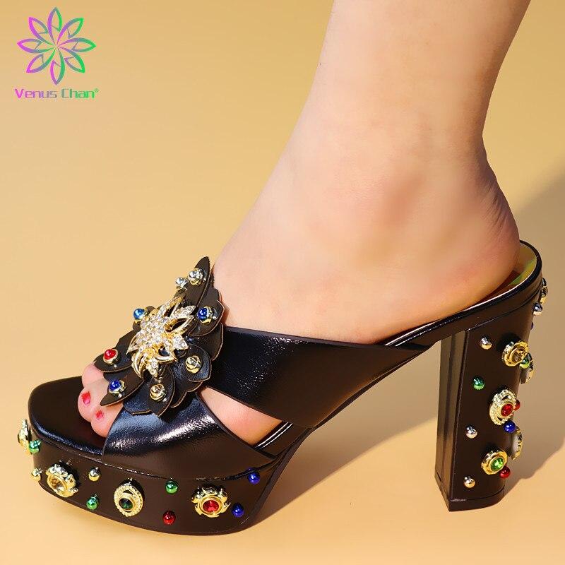 Latest Italian Summer Women Shoes with Rhinestone Designer Shoes Women Luxury 2019 Slip on Shoes for Women Nigerian Style Shoes