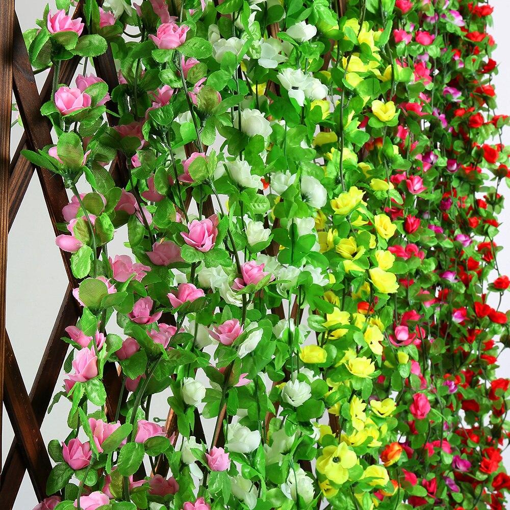 Caliente 230cm falso seda flores artificiales rosas decoración colgante para bodas guirnalda flores secas hojas falsas suministros para fiestas 2019