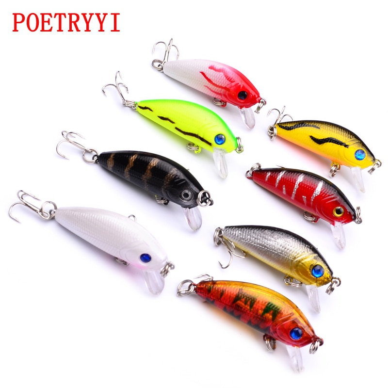 POETRYYI Topwater Minnow Fishing Lures 50mm 3.6g Artificial Hard Bait Japan Mini Fish Wobblers Pesca Crankbait Carp Fishing 30