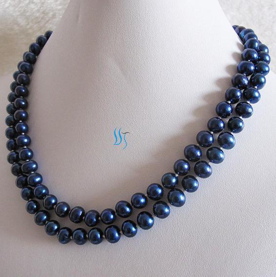 Collar de perlas largo Real 37 pulgadas 8-9mm azul marino collar de perlas de agua dulce nuevo envío gratis