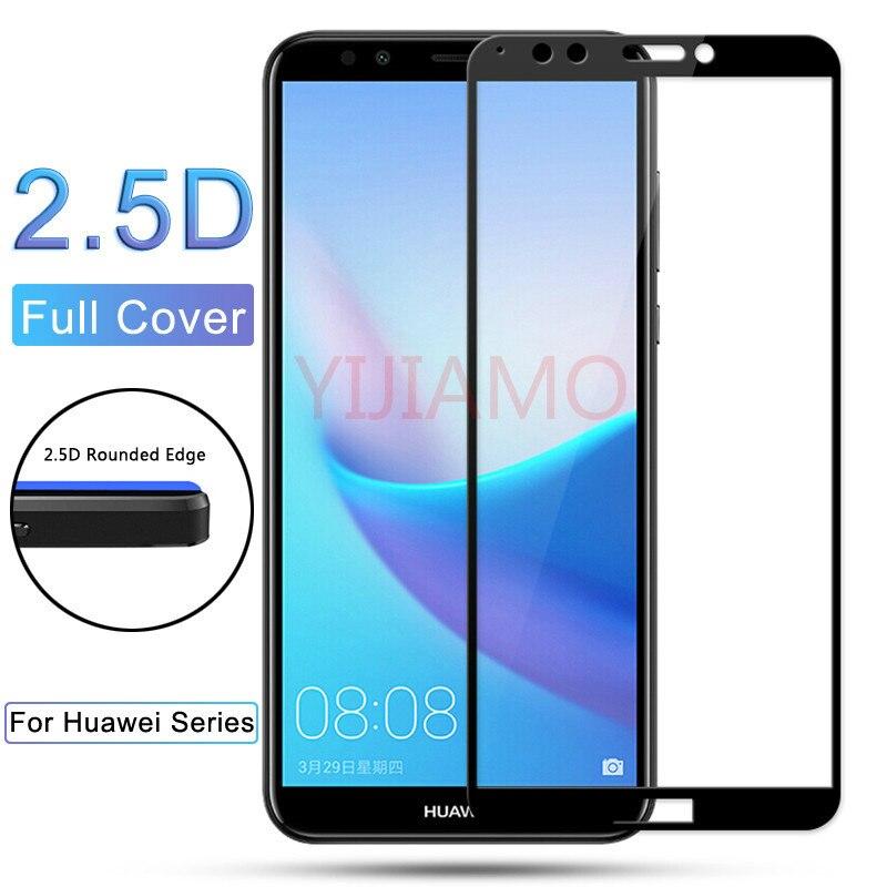 Y6 y7 y5 primer 2018 de vidrio templado Protector de pantalla para Huawei Y3 Y5 Y6 Y7 Y9 Y5 Y6 Y7 primer Pro colorido 3d cubierta completa de la película 9h
