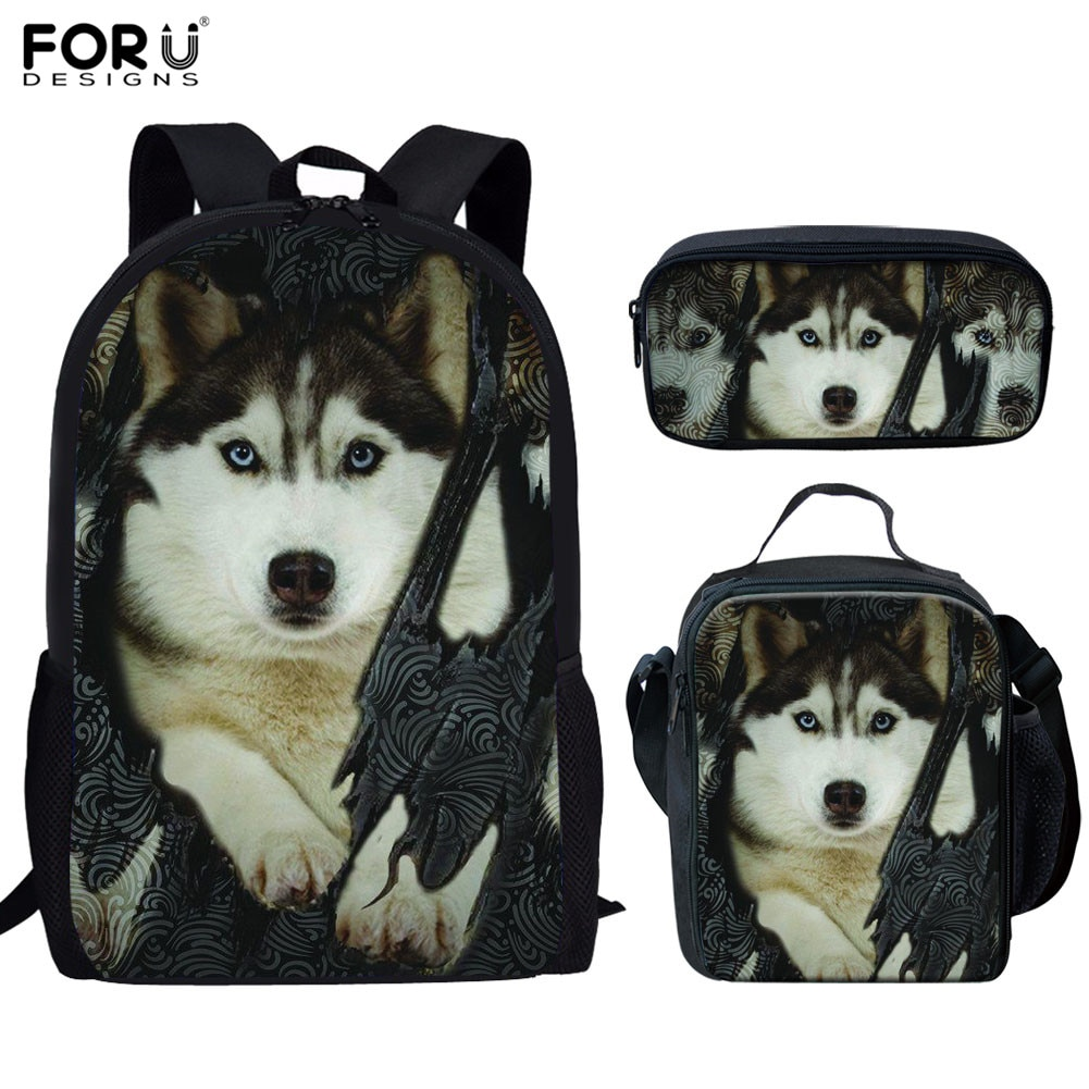 FORUDESIGNS School Bags Set for Boys Girls 3D Husky Pattern Bagpack Kids Schoolbags High Quality Backpack Book Lunch Pencil Bags