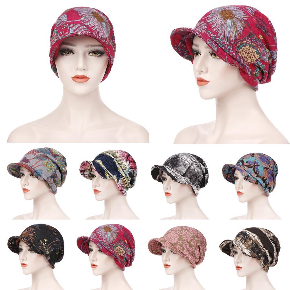 De moda de las mujeres musulmanas de algodón de impresión sombrero gorros Hijab pérdida de cabello quimio pañuelo secreto Visor gruesa tapa boinas turbante sombrero